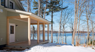 Unity Homes Xyla design in Chebeague Maine, side porch